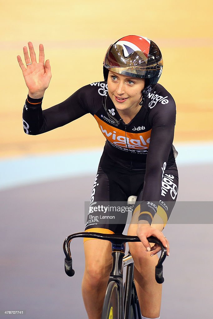 <a gi-track='captionPersonalityLinkClicked' href=/galleries/search?phrase=Laura+Trott&family=editorial&specificpeople=7205074 ng-click='$event.stopPropagation()'>Laura Trott</a> of Great Britain and the Wiggle Honda team waves to the crowd after winning the UCI Omnium Flying Lap during Revolution 5 at the Lee Valley VeloPark on March 14, 2014 in London, England.