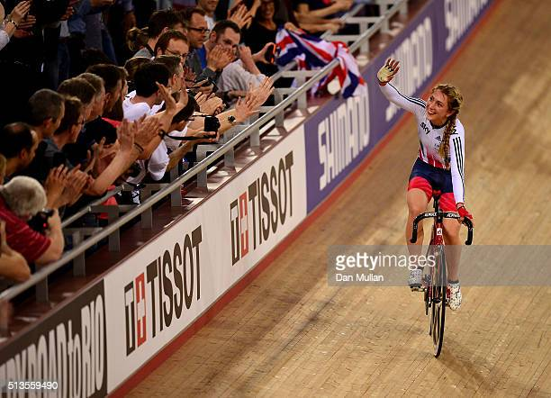 Laura Trott of Great Britain celebrates after winning a gold medal in the Womens Scratch race during Day Two of the UCI Track Cycling World...