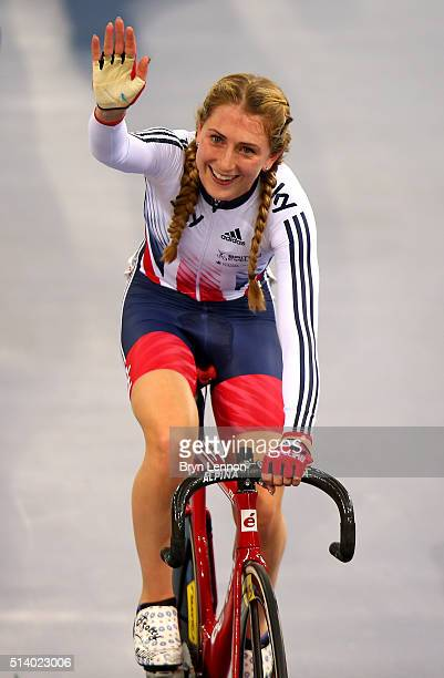 Laura Trott of Great Britain celebrates after winning the Women's Omnium during Day Five of the UCI Track Cycling World Championships at Lee Valley...