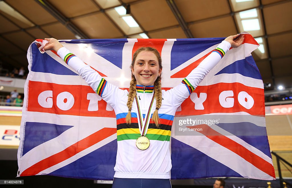 <a gi-track='captionPersonalityLinkClicked' href=/galleries/search?phrase=Laura+Trott+-+Cyclist&family=editorial&specificpeople=7205074 ng-click='$event.stopPropagation()'>Laura Trott</a> of Great Britain celebrates after winning the Women's Omnium during Day Five of the UCI Track Cycling World Championships at Lee Valley Velopark Velodrome on March 6, 2016 in London, England.