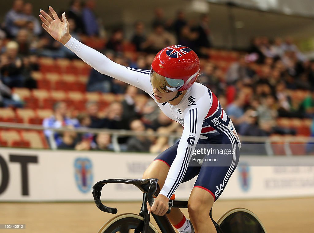 Laura Trott of Great Britain celebrates as she crosses the finish line to win the Elimintion Race in the Women's Omnium during qualifying for the Men's Sprint on day four of the 2013 UCI Track World Championships at the Minsk Arena on February 23, 2013 in Minsk, Belarus.