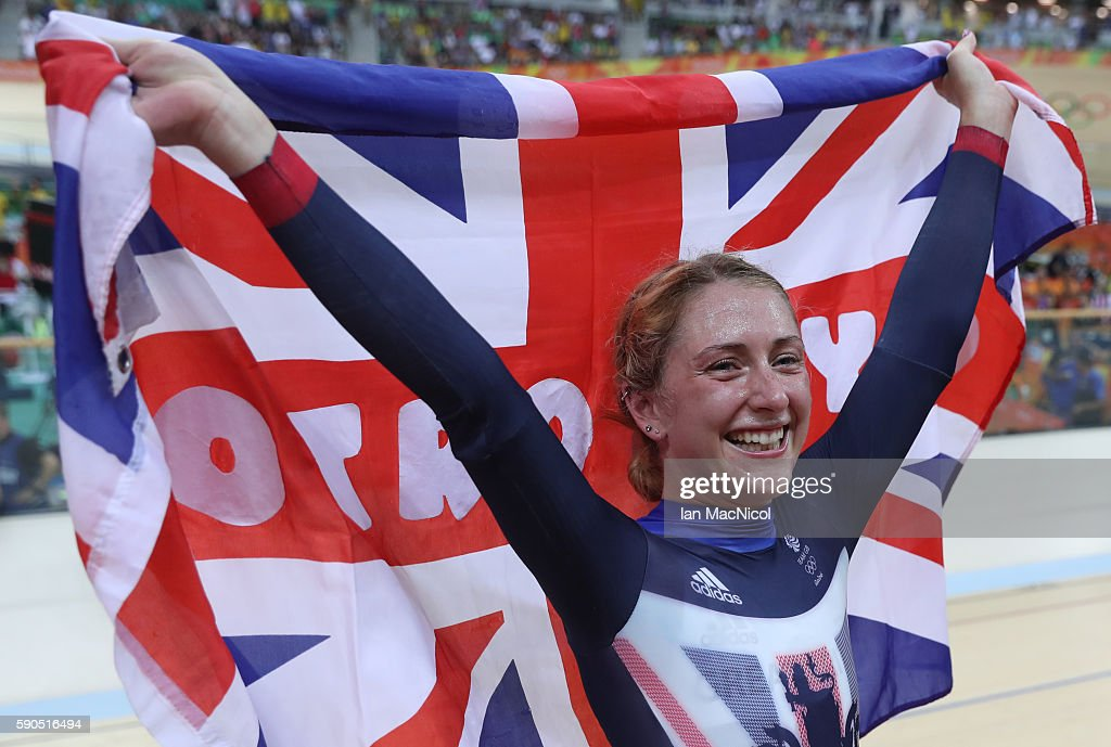 Laura Trott of Great Britain celebrates victory in the Women's Omnium at Rio Olympic Velodrome on August 16 2016 in Rio de Janeiro Brazil