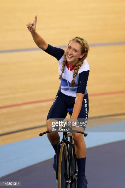Laura Trott of Great Britain celebrates winning the Gold medal and breaking the World Record in the Women's Team Pursuit Track Cycling Finals on Day...