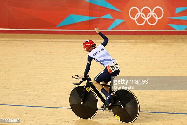 Laura Trott of Great Britain celebrates winning the Gold medal in the Women's Omnium Track Cycling 500m Time Trial on Day 11 of the London 2012...