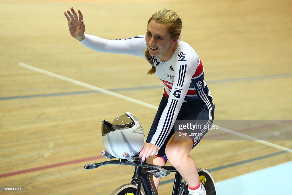 <a gi-track='captionPersonalityLinkClicked' href=/galleries/search?phrase=Laura+Trott+-+Cyclist&family=editorial&specificpeople=7205074 ng-click='$event.stopPropagation()'>Laura Trott</a> of Great Britain celebrates winning the the Women's Omnium on day three of the UCI Track Cycling World Cup at Manchester Velodrome on November 3, 2013 in Manchester, England.