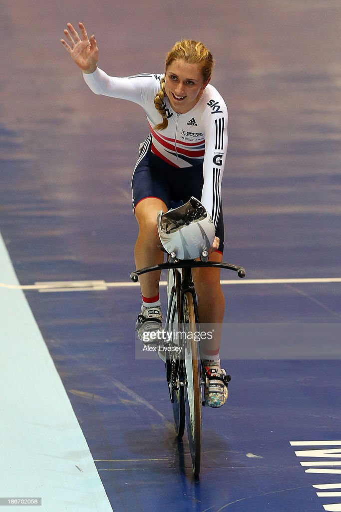 Laura Trott of Great Britain celebrates winning the the Women's Omnium on day three of the UCI Track Cycling World Cup at Manchester Velodrome on November 3, 2013 in Manchester, England.