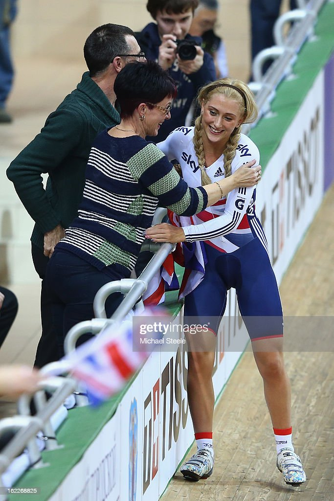 <a gi-track='captionPersonalityLinkClicked' href=/galleries/search?phrase=Laura+Trott+-+Cyclist&family=editorial&specificpeople=7205074 ng-click='$event.stopPropagation()'>Laura Trott</a> (R) of Great Britain celebrates with her mother Glenda and father Adrian after winning gold in the women's team pursuit during day two of the UCI Track World Championships at Minsk Arena on February 21, 2013 in Minsk, Belarus.