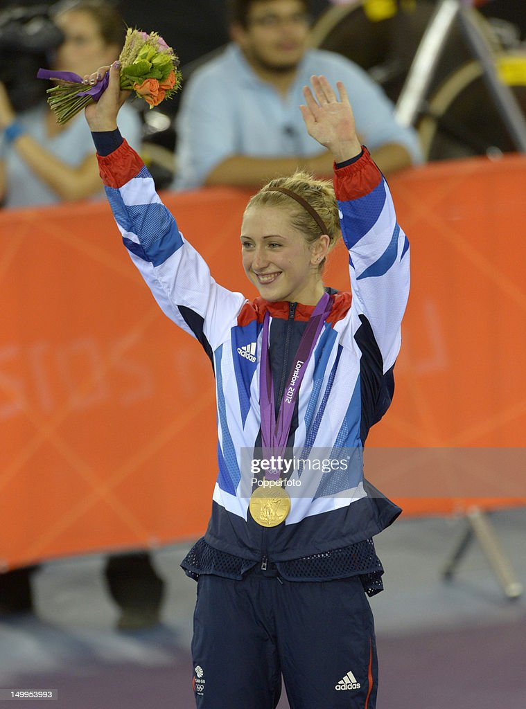 Laura Trott of Great Britain celebrates with the Gold medal after winning the Women's Omnium Track Cycling 500m Time Trial on Day 11 of the London 2012 Olympic Games at Velodrome on August 7, 2012 in London, England.