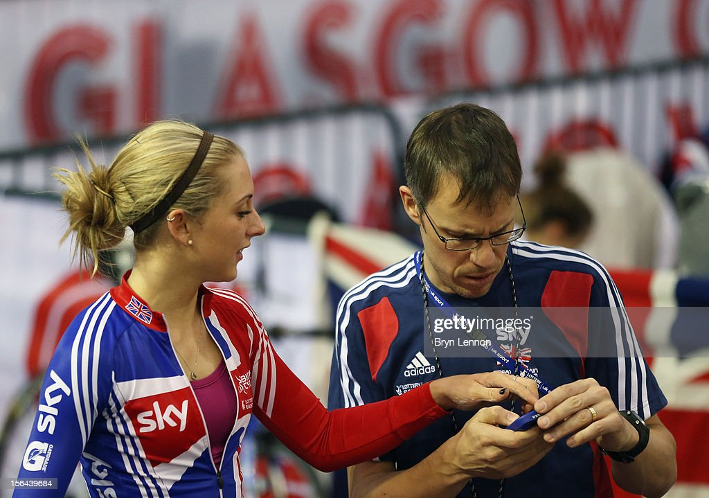 <a gi-track='captionPersonalityLinkClicked' href=/galleries/search?phrase=Laura+Trott+-+Cyclist&family=editorial&specificpeople=7205074 ng-click='$event.stopPropagation()'>Laura Trott</a> of Great Britain chats to British Cycling Coach Paul Manning during training for the UCI Track Cycling World Cup at the Sir Chris Hoy Velodrome on November 15, 2012 in Glasgow, Scotland.