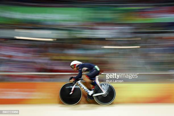 Laura Trott of Great Britain competes during the Women's Omnium Points race on Day 11 of the Rio 2016 Olympic Games at the Rio Olympic Velodrome on...