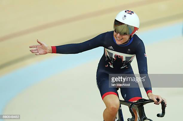 Laura Trott of Great Britain competes in the Points Race during the Women's Omnium at Rio Olympic Velodrome on August 16 2016 in Rio de Janeiro Brazil