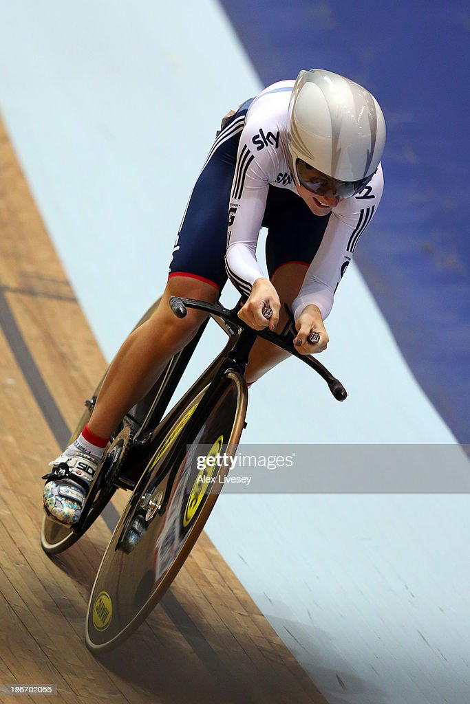 <a gi-track='captionPersonalityLinkClicked' href=/galleries/search?phrase=Laura+Trott&family=editorial&specificpeople=7205074 ng-click='$event.stopPropagation()'>Laura Trott</a> of Great Britain in action during the Women's Omnium 500m Time Trial on day three of the UCI Track Cycling World Cup at Manchester Velodrome on November 3, 2013 in Manchester, England.