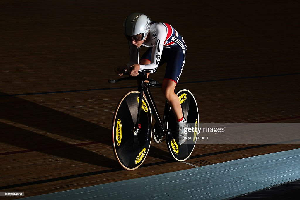 Laura Trott of Great Britain in action during the Women's Omnium Individual Pursuit on day three of the UCI Track Cycling World Cup at Manchester Velodrome on November 3, 2013 in Manchester, England.