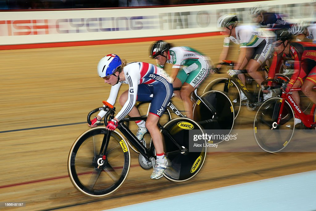 Laura Trott (L) of Great Britain in action during the Womens Omnium Elimination Race on day two of the UCI Track Cycling World Cup at Manchester Velodrome on November 2, 2013 in Manchester, England.
