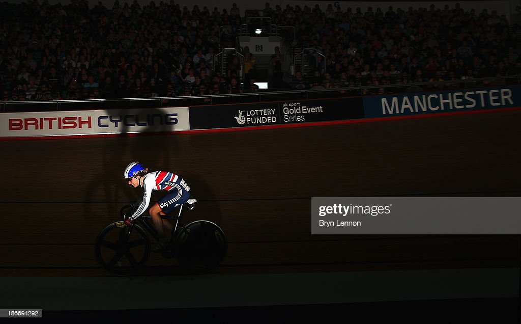 Laura Trott of Great Britain in action during the Women's Omnium Scratch Race on day three of the UCI Track Cycling World Cup at Manchester Velodrome on November 3, 2013 in Manchester, England.