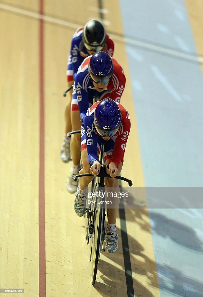 <a gi-track='captionPersonalityLinkClicked' href=/galleries/search?phrase=Laura+Trott+-+Cyclist&family=editorial&specificpeople=7205074 ng-click='$event.stopPropagation()'>Laura Trott</a> of Great Britain leads the Women's Pursuit team during training for the UCI Track Cycling World Cup at the Sir Chris Hoy Velodrome on November 15, 2012 in Glasgow, Scotland.