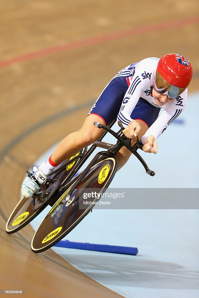 Laura Trott of Great Britain on her way to claiming silver in the time trial round of the women's omnium on day five of the 2013 UCI Track World Championships at the Minsk Arena on February 24, 2013 in Minsk, Belarus.