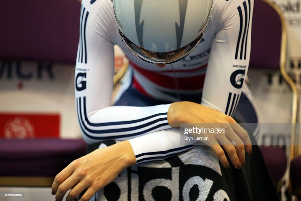 Laura Trott of Great Britain preapes to ride in the Women's Omnium Individual Pursuit on day three of the UCI Track Cycling World Cup at Manchester Velodrome on November 3, 2013 in Manchester, England.