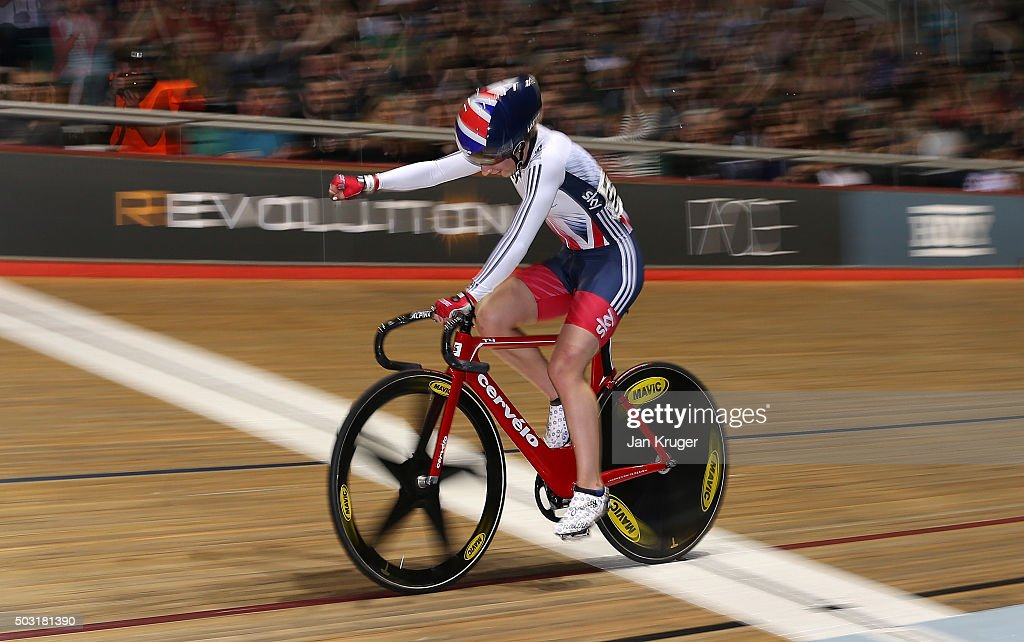<a gi-track='captionPersonalityLinkClicked' href=/galleries/search?phrase=Laura+Trott+-+Cyclist&family=editorial&specificpeople=7205074 ng-click='$event.stopPropagation()'>Laura Trott</a> of Great Britain punches the air as she wins the womens Elimination Race during the Elite Track Cycling Revolution Series at National Cycling Centre on January 2, 2016 in Manchester, England.