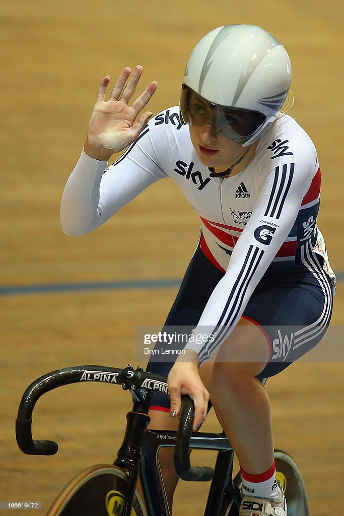 Laura Trott of Great Britain waves to the crowds after the Flying Lap round of the Women's Omnium on day two of the UCI Track Cycling World Cup at Manchester Veledrome on November 2, 2013 in Manchester, England.
