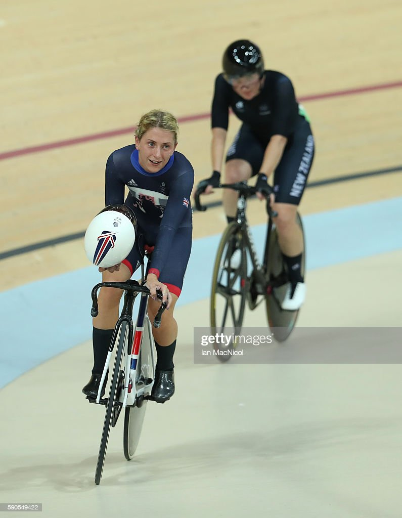Laura Trott of Great Britain wins the Points Race during the Women's Omnium at Rio Olympic Velodrome on August 16 2016 in Rio de Janeiro Brazil
