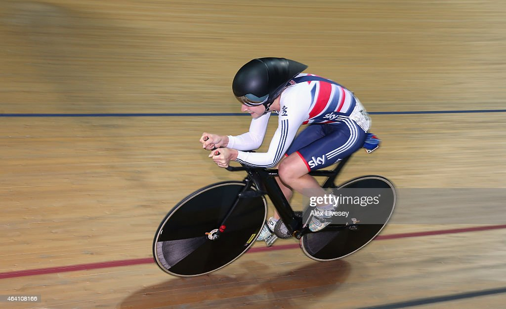 Laura Trott of the Great Britain Cycling Team competes in the Women's Omnium 500m Time Trial during Day Five of the UCI Track Cycling World...