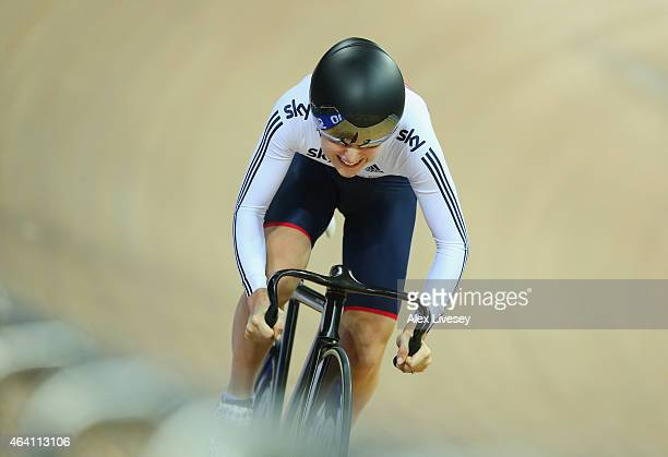 Laura Trott of the Great Britain Cycling Team competes in the Women's Omnium Flying Lap during Day Five of the UCI Track Cycling World Championships...