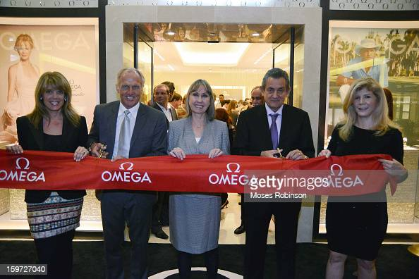 Laura Turner Seydel Greg Norman Stephen Uraquhart and Nina Cheney attend the OMEGA boutique opening at Phipps Plaza on January 17 2013 in Atlanta...