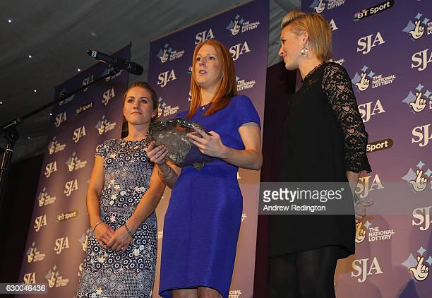 Laura Unsworth Nicola White and Alex Danson are pictrured with the the SJA Sports Team of the Year trophy during The SJA British Sports Awards 2016...