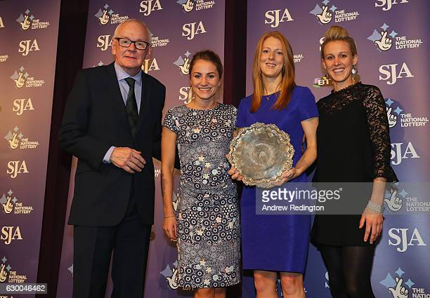 Laura Unsworth Nicola White and Alex Danson are pictrured with the the SJA Sports Team of the Year trophy alongside Patrick Collins SJA President...