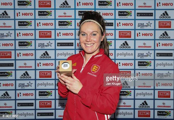 Laura Unsworth of England poses with her milestone award commemorating 200 caps during day 6 of the FIH Hockey World League Women's Semi Finals...