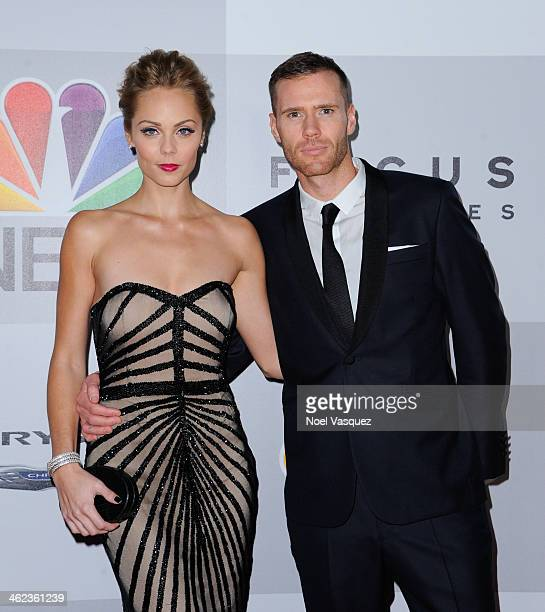 Laura Vandervoort and Oliver Trevenna attend NBC Universal's 71st Annual Golden Globe Awards After Party at The Beverly Hilton Hotel on January 12...