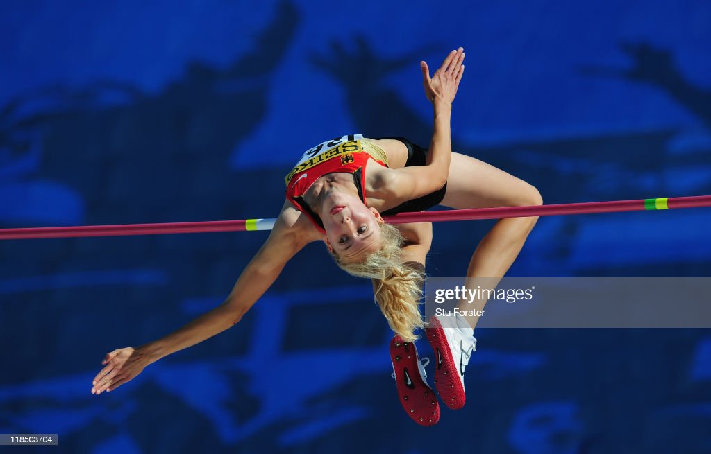 Laura Voss of Germany in action during the Girls high jump final during day three of the IAAF World Youth Championships at Lille Metropole stadium on July 8, 2011 in Lille, France.