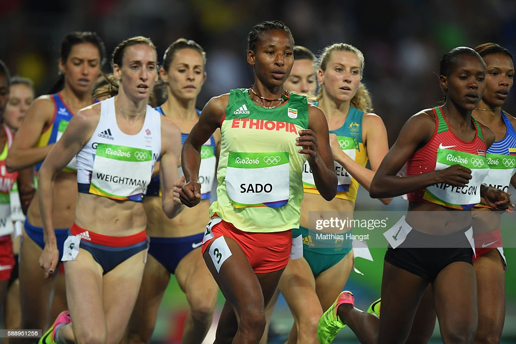 Laura Weightman of Great Britain Besu Sado of Ethiopia and Faith Chepngetich Kipyegon of Kenya compete in round one of the Women's 1500 metres on Day...