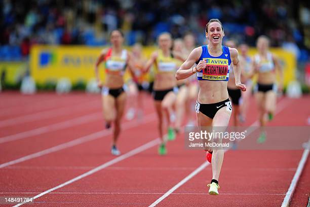 Laura Weightman of Morpeth Harriers runs towards the finish line to win the Women's 1500 metres final during day three of the Aviva 2012 UK Olympic...