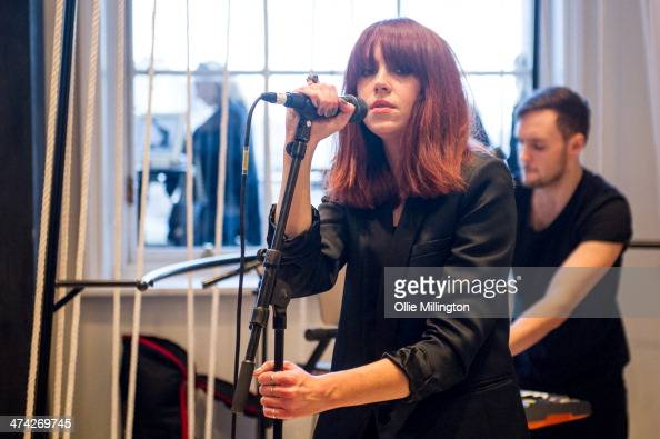 Laura Welsh performs a Levis Reveal Studio Showcase During Day 2 of London Fashion Weekend Sponsored By Vodafone at Somerset House on February 22...