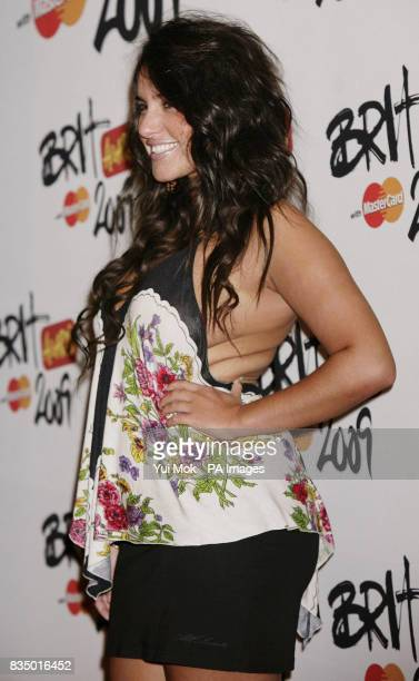 Laura White from X Factor arriving for the Brit Awards shortlist announcement at the Roundhouse in London