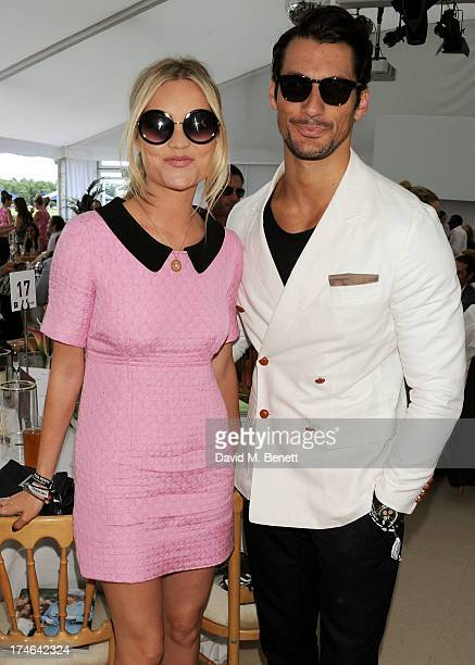 Laura Whitmore and David Gandy attend the Boujis tent at the Audi International Polo day at Guards Polo Club on July 28 2013 in Egham England