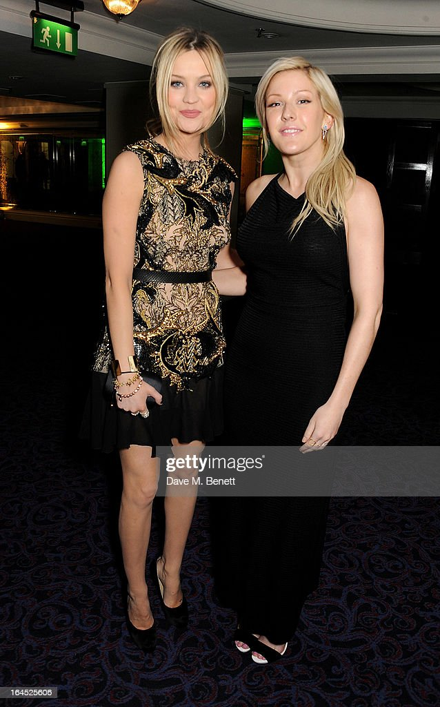 Laura Whitmore (L) and Ellie Goulding arrive at the Jameson Empire Awards 2013 at The Grosvenor House Hotel on March 24, 2013 in London, England.