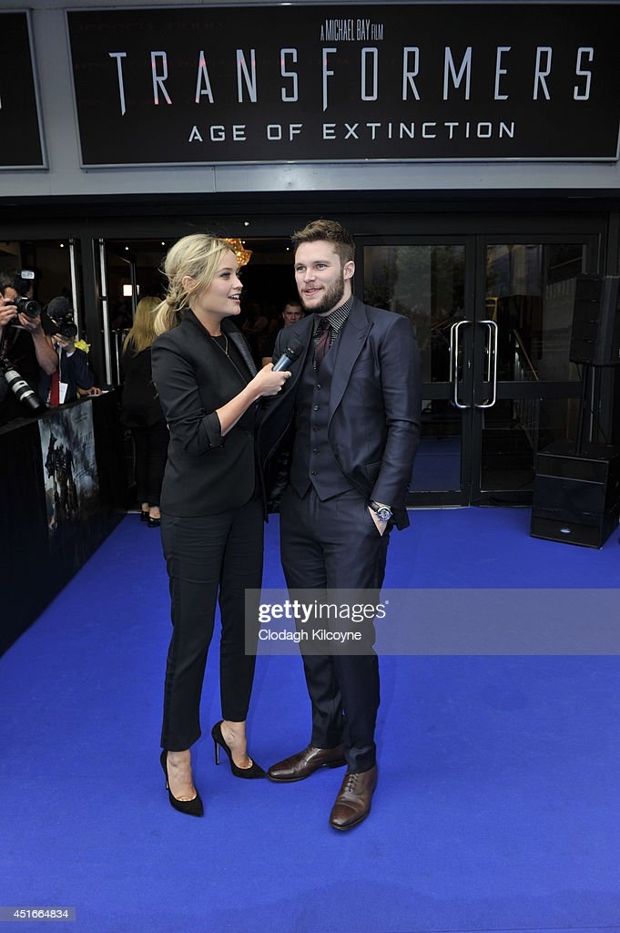 Laura Whitmore and Jack Reynor attend the Irish Premiere of 'Transformers 4 Age of Extinction' at Savoy Cinema on July 3 2014 in Dublin Ireland