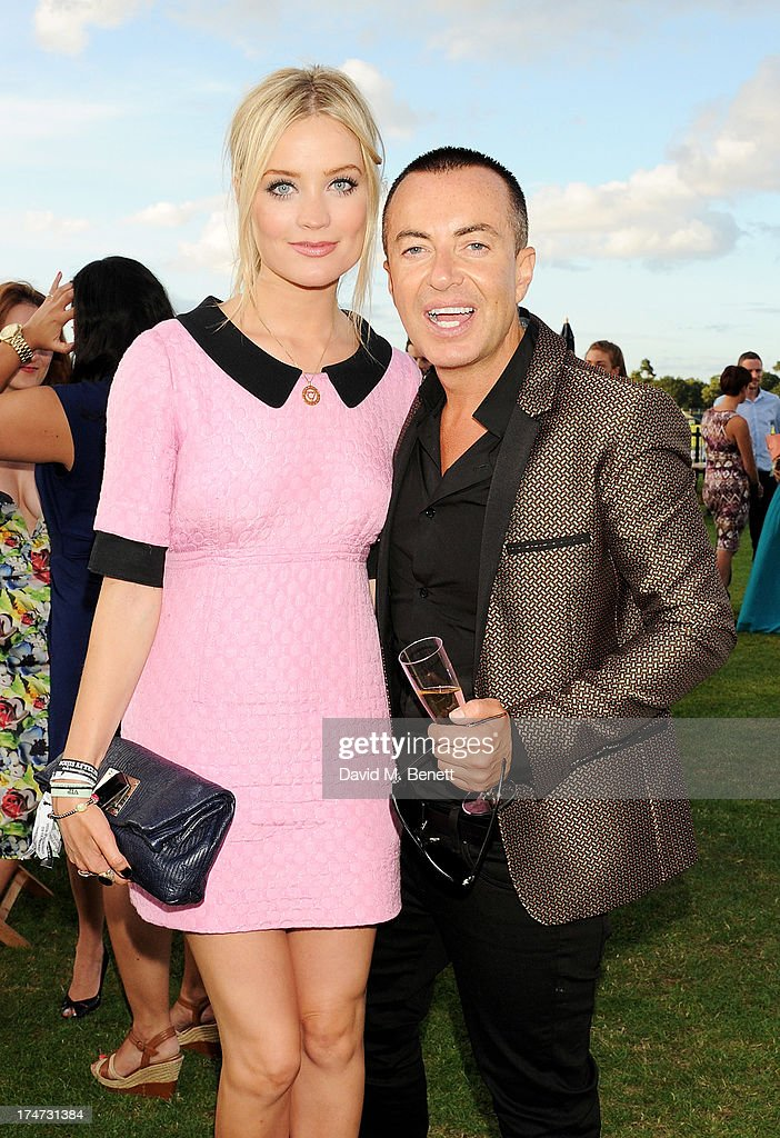 <a gi-track='captionPersonalityLinkClicked' href=/galleries/search?phrase=Laura+Whitmore&family=editorial&specificpeople=5599316 ng-click='$event.stopPropagation()'>Laura Whitmore</a> (L) and Julien Macdonald attend the Boujis Party at the Audi International Polo day at Guards Polo Club on July 28, 2013 in Egham, England.