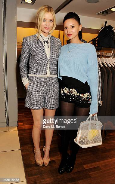 Laura Whitmore and Leah Weller attend the Panasonic Technics 'Shop To The Beat' Party hosted by George Lamb at French Connection Oxford Circus on...