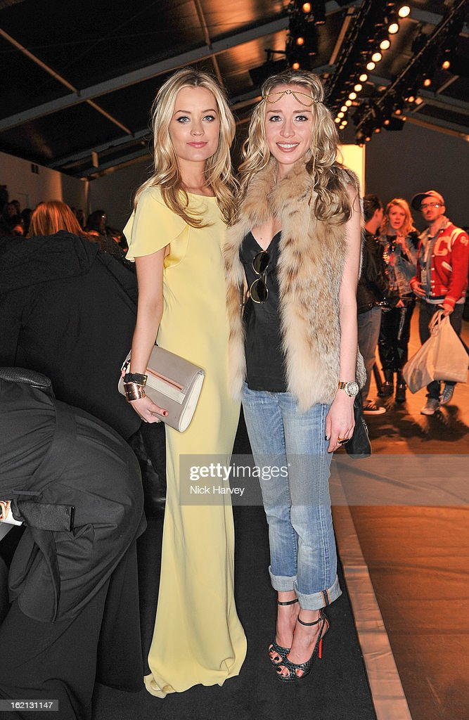 <a gi-track='captionPersonalityLinkClicked' href=/galleries/search?phrase=Laura+Whitmore&family=editorial&specificpeople=5599316 ng-click='$event.stopPropagation()'>Laura Whitmore</a> and <a gi-track='captionPersonalityLinkClicked' href=/galleries/search?phrase=Noelle+Reno&family=editorial&specificpeople=584916 ng-click='$event.stopPropagation()'>Noelle Reno</a> attend the Maria Grachvogel show during London Fashion Week Fall/Winter 2013/14 at Somerset House on February 19, 2013 in London, England.