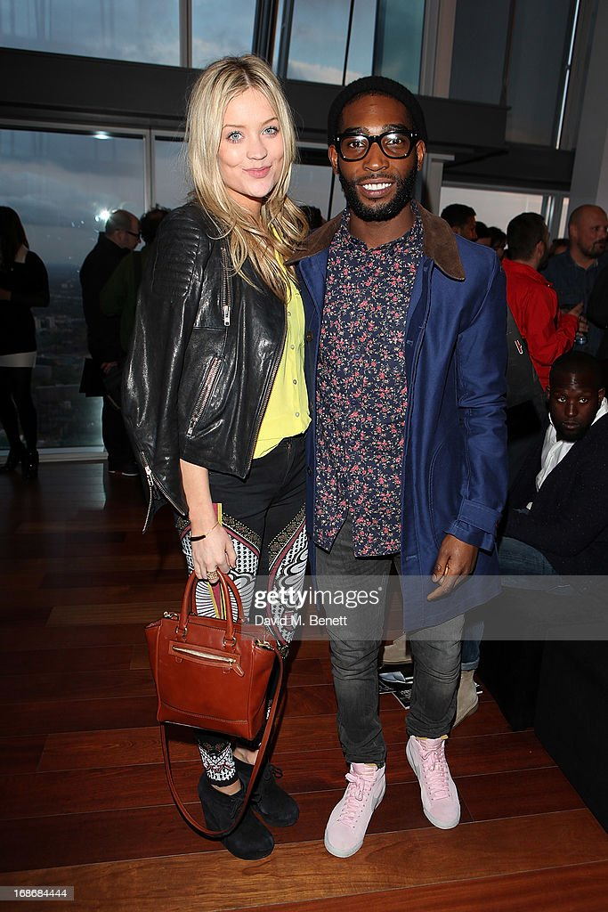 Laura Whitmore and Tinie Tempah attend a listening party for Daft Punk's new album 'Random Access Memories' at The Shard on May 13, 2013 in London, England.
