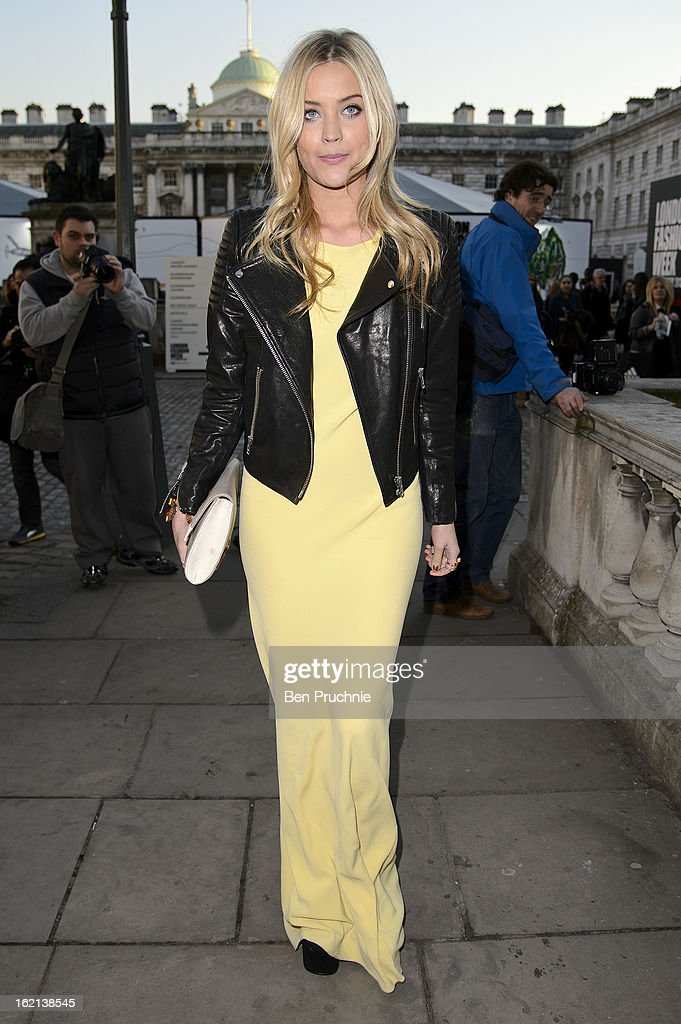 Laura Whitmore arrives at Somerset House during London Fashion Week on February 19, 2013 in London, England.