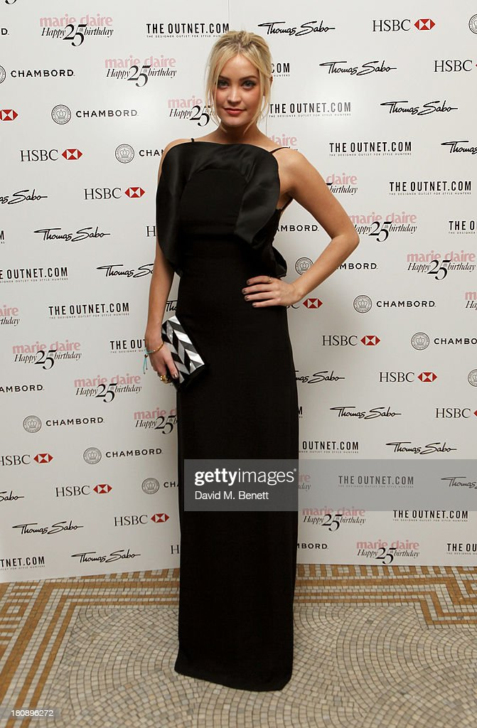 Laura Whitmore arrives at the Marie Claire 25th birthday celebration featuring Icons of Our Time in association with The Outnet at the Cafe Royal Hotel on September 17, 2013 in London, England.