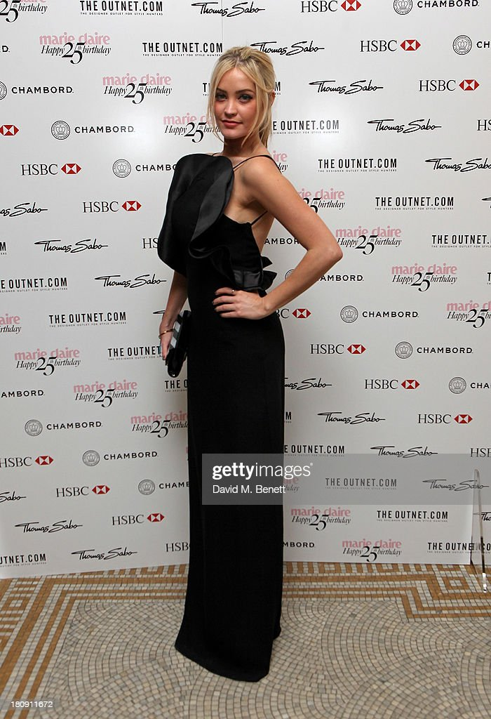 <a gi-track='captionPersonalityLinkClicked' href=/galleries/search?phrase=Laura+Whitmore&family=editorial&specificpeople=5599316 ng-click='$event.stopPropagation()'>Laura Whitmore</a> arrives at the Marie Claire 25th birthday celebration featuring Icons of Our Time in association with The Outnet at the Cafe Royal Hotel on September 17, 2013 in London, England.