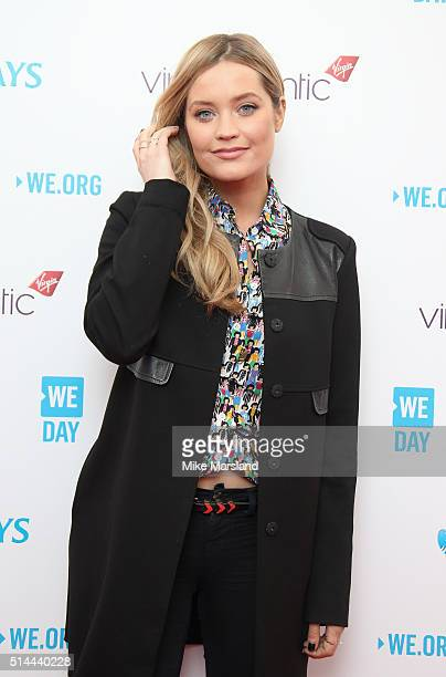Laura Whitmore arrives for WE Day at SSE Arena on March 9 2016 in London England WE Day is a celebration of youth making a difference in their local...