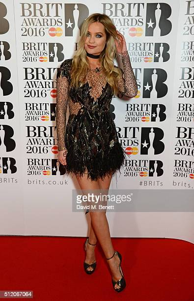 Laura Whitmore arrives the BRIT Awards 2016 at The O2 Arena on February 24 2016 in London England