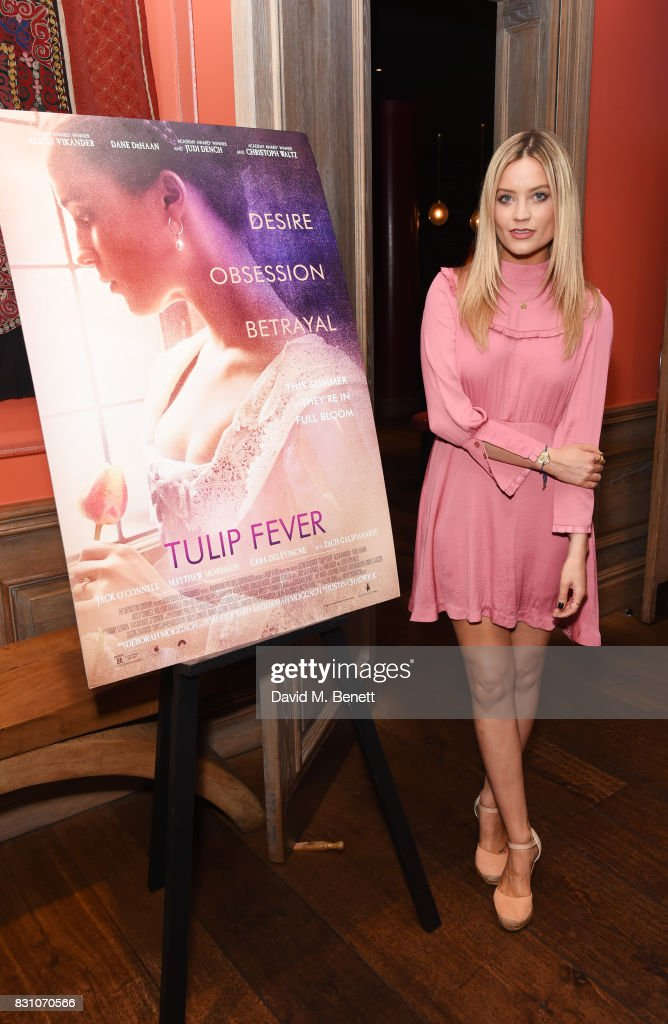 Laura Whitmore attends a VIP preview screening of 'Tulip Fever' at The Soho Hotel on August 13, 2017 in London, England.
